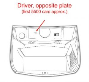 Car Number - Driver side, opposite plate