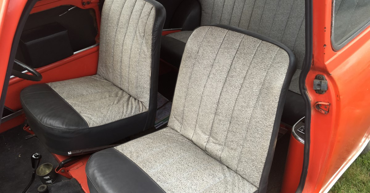 Seat facings were made with patterned vinyl, in a style unique to Australia.